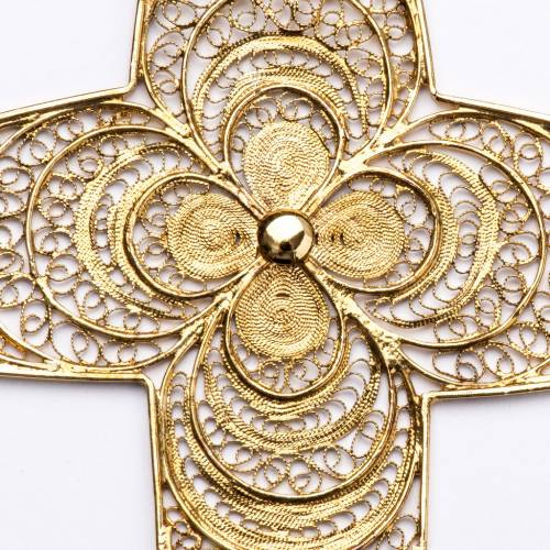 Croix pectorale filigrane argent 800 fleur s3