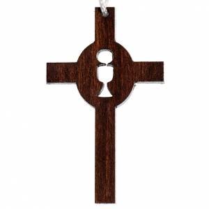 Aubes communion, profession de foi: Croix première communion bois calice hostie gravés