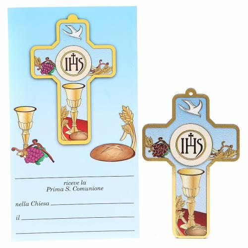 Croix pvc Première Communion avec carte souvenir s1
