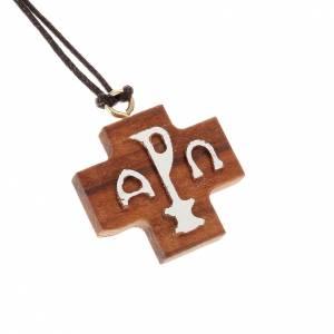 Pendentifs croix bois: Croix relief Chi-Rho Omega bois d'olivier