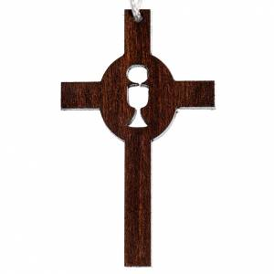 First Communion Albs: Cross first communion dark carved wood with chalice and host.