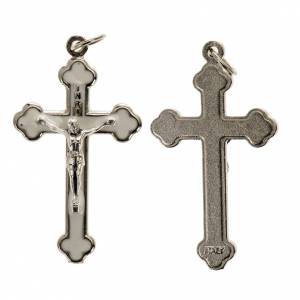 Cross for do-it-yourself rosary in silver metal and white enamel s1