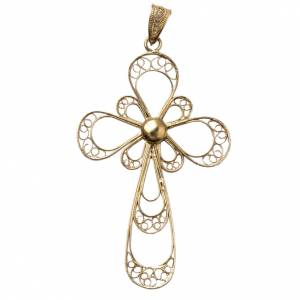 Cross in 800 silver filigree, gold plated s1