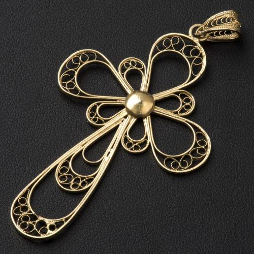 Cross in 800 silver filigree, gold plated s2