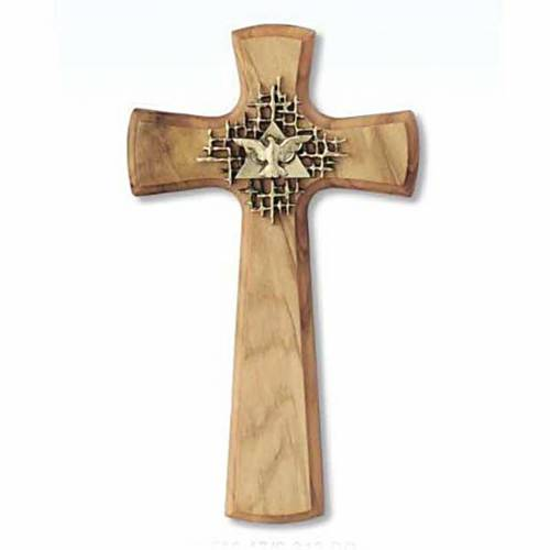 Cross in olive wood with the Holy Spirit symbol s1