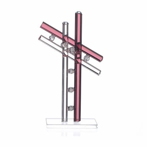 Cross Murano Glass purple h. 12cm s2