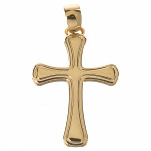 Cross pendant in 18k gold with rounded edges, 1,47 grams s1