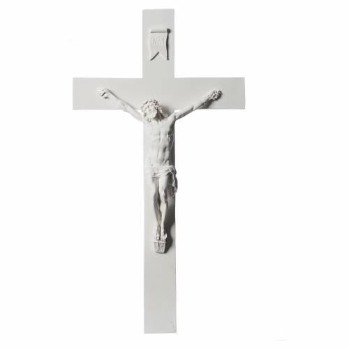 Crucifijo 50 cm mármol sintético blanco s1