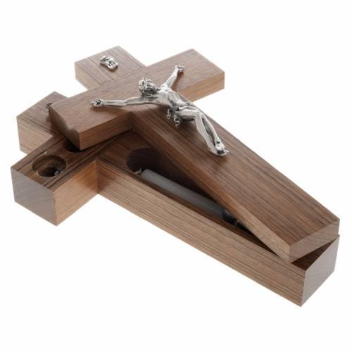Crucifijo altar de mesa madera de nogal s6