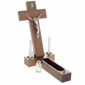 Crucifijos de mesa: Crucifijo altar de mesa madera de nogal