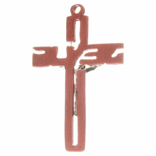 Crucifijo colgante estilizado en zamak rosa s2