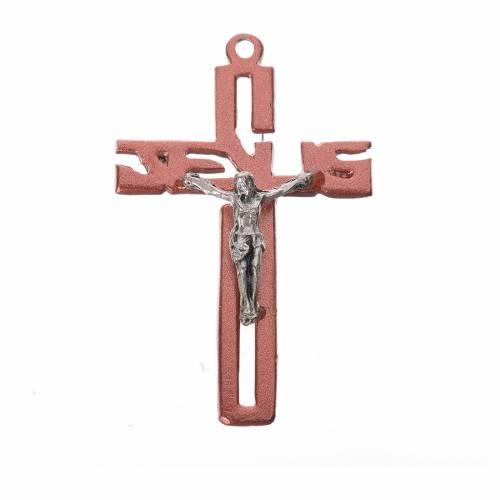 Crucifijo colgante estilizado en zamak rosa s1