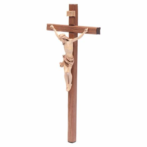 Crucifijo, cruz recta madera Valgardena varias patinaduras, mode s2
