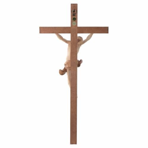 Crucifijo cruz recta tallada modelo Corpus, madera Valgardena va s4