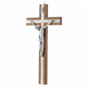 Crucifijo de madera oscura y metal insertado s2