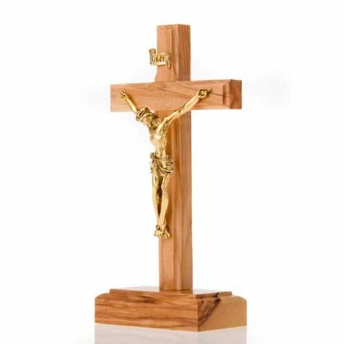 Crucifijo de mesa madera olivo dorado metal s2