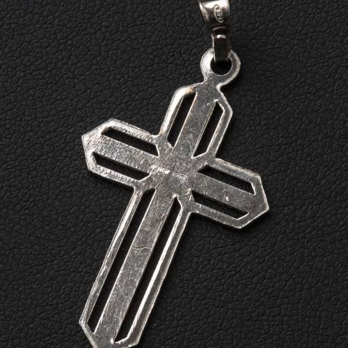 Crucifijo de plata efecto rayas s3