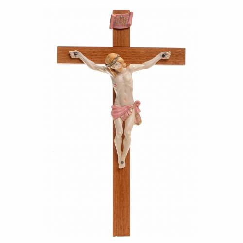 Crucifijo Fontanini 30x17 cerupo pvc tipo porcelana cruz madera s1