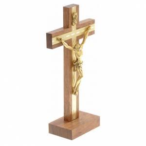 Crucifijos de mesa: Crucifijo madera y metal dorado de mesa