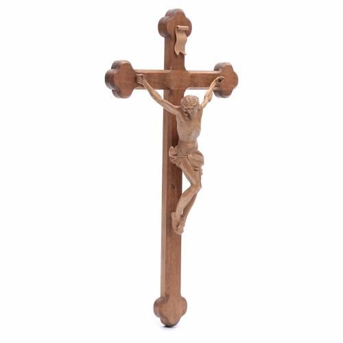 Crucifijo trilobulado Corpus, madera Valgardena patinada s3