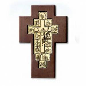 Crucifijo Vía Crucis dorado 14 estaciones cruz de madera s1