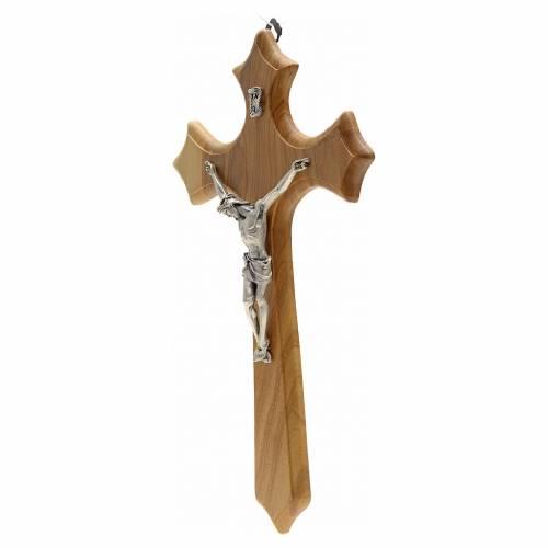 Crucifix bois d'olivier, trois pointes, corps métal s2