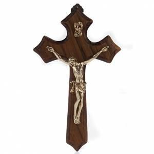 Crucifix bois de noix, trois pointes, corps métal dor&eac s1