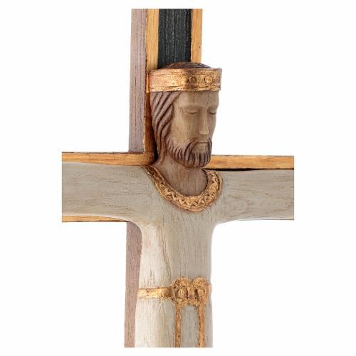 Crucifix Chist roi en blanc, croix verte en pierre s4