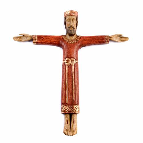 Crucifix, Christ Prêtre en bois s1