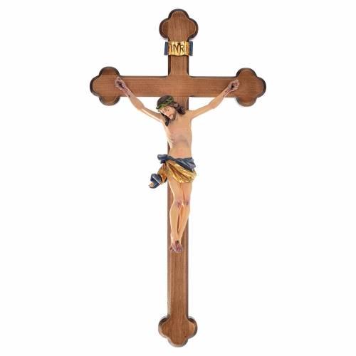 Crucifix croix trilobée bois peint Val Gardena s1