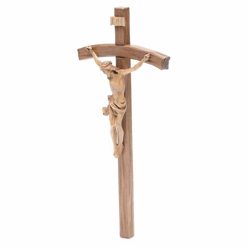 Crucifix, curved, Corpus model in patinated Valgardena wood s2