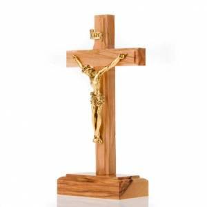 Crucifix de table doré en bois d'olivier et mé s2