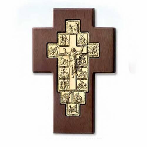 Crucifix doré chemin de croix 14 stations sur croix en bo s1