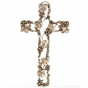 Crucifix en métal: Crucifix doré raisins