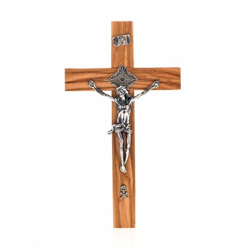 Crucifix for priests in olive wood 20x10 cm s1