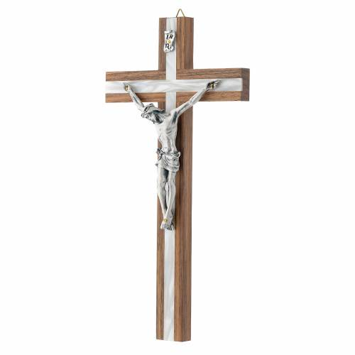 Crucifix in dark wood with pearly metal insert s2