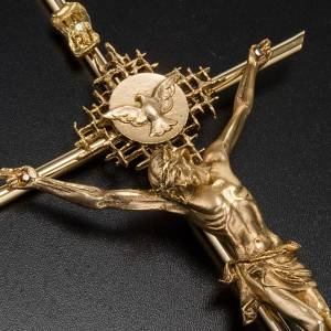 Crucifix in golden metal with Christ, Father and Holy Spirit s3