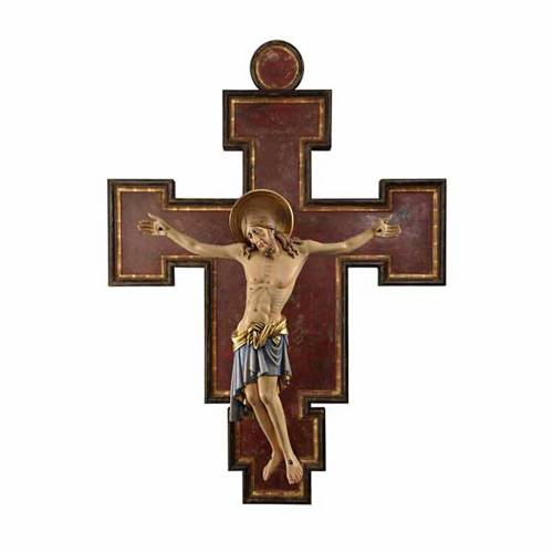 Crucifix in painted wood Cimabue style, 125cm s1