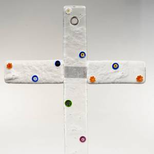 Crucifix in transparent Murano glass and Murrina s2