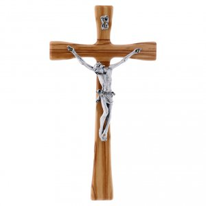 Wooden crucifixes: Crucifix modern in beech wood 25 cm with silver body 10 cm