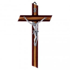 Wooden crucifixes: Crucifix modern in padouk wood and olive wood with silver body 25 cm