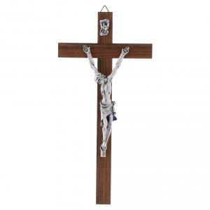 Wooden crucifixes: Crucifix modern in walnut metal body 21 cm