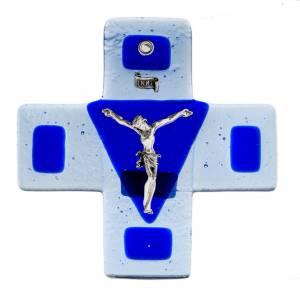 Crucifix en plexiglass et verre: Crucifix verre bleu 12x12 cm