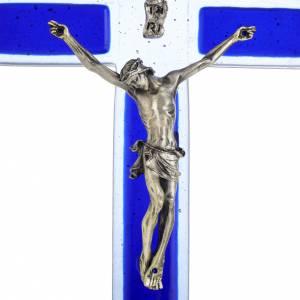 Crucifix en plexiglass et verre: Crucifix verre Murano bleu Corps argenté