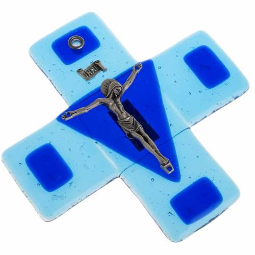 Crucifix verre turquoise 12x12 cm s2