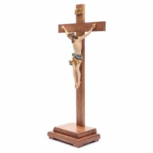 Crucifix with base, straight cross in coloured Valgardena wood s2