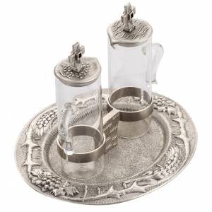Cruet set for Mass celebration in silver molten bronze s5