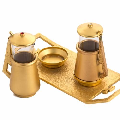 Cruet set in gold-plated molten bronze and brass s2
