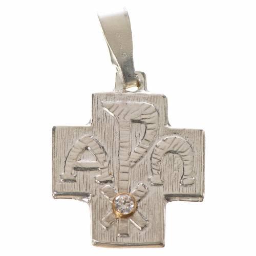 Cruz alfa omega con zircón de plata 800 s1