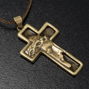 Cruz collar rostro de Jesucristo color bronce s2